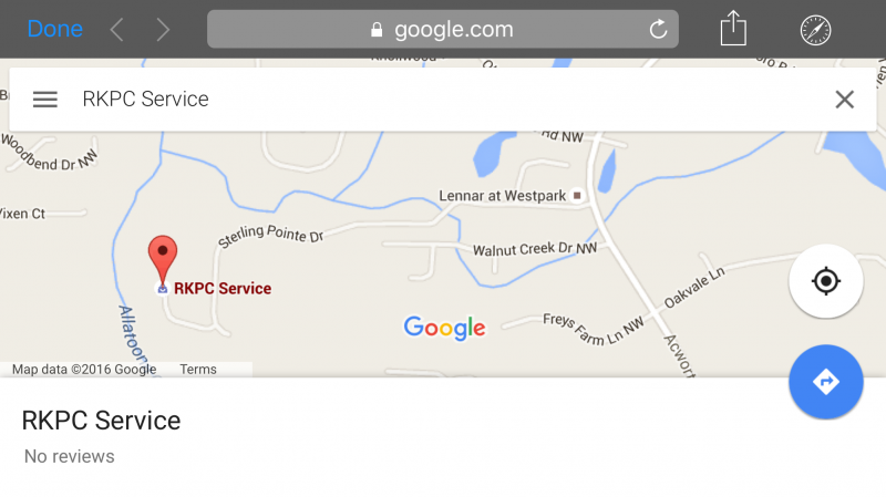 RKPC Service Tewaked on Google Maps