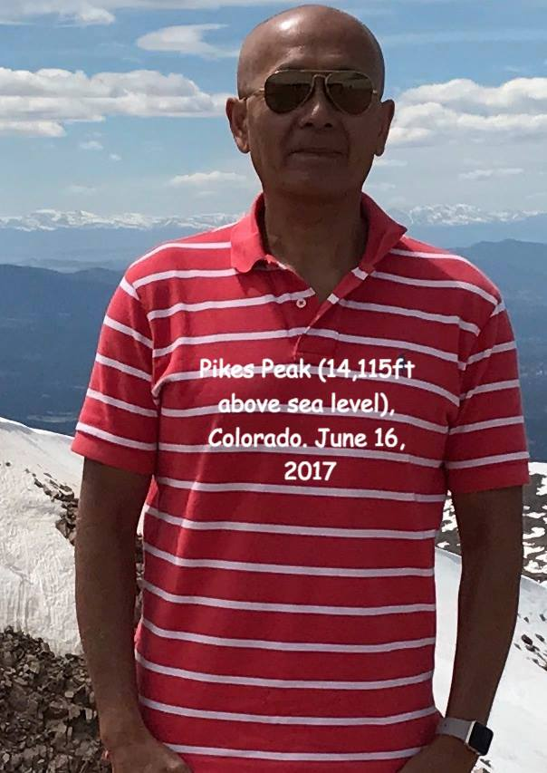 Roger Koo at Pikes Peak (14,115ft above sea level) Colorado, June 16, 2017